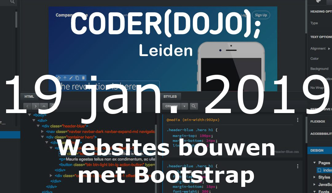 CoderDojo Leiden #56 | Websites bouwen met Bootstrap | 19 januari 2019
