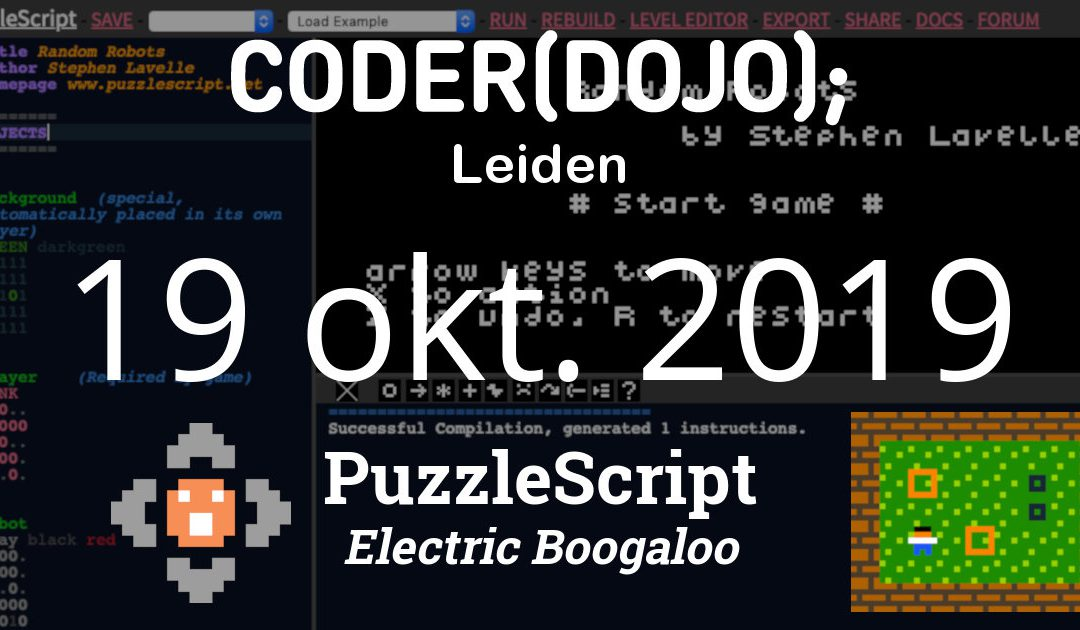 CoderDojo Leiden #64 | Puzzelgames maken (deel 2) | 19 oktober 2019