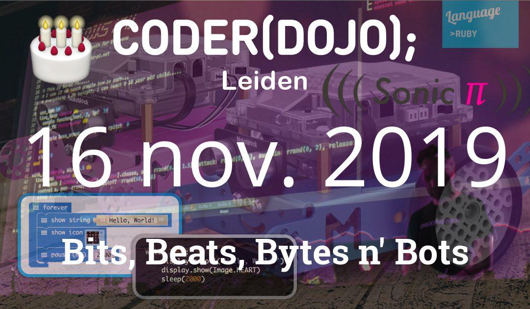 CoderDojo Leiden #65 – Bits, Beats, Bytes en Bots – 16 november 2019
